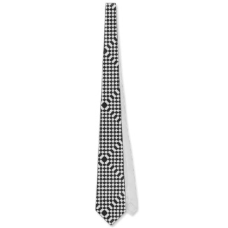 Black and White Optical Illusion Chessboard Mens Tie by CricketDiane 2013