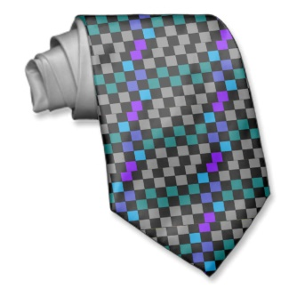 Checkerboard Grey Rainbow Turquoise Blue-Green Tie by CricketDiane 2013