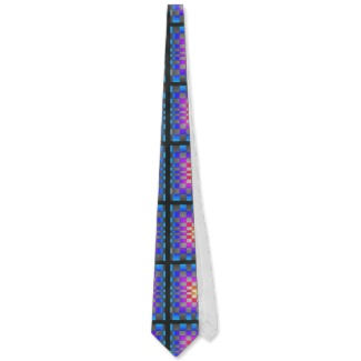 Colorful Optical Illusion Chess Board Mens Tie by CricketDiane 2013