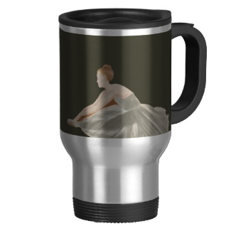 Ballerina on Army Green / French Grey 9a Solid Color Only Commuter Mug