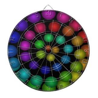 Futuristic 3d Rainbow Dart Board 12 c by CricketDiane Art and Design 2013