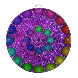 Futuristic 3d Rainbow Glitter Glam Sparkle Sky Dartboard by CricketDiane 2013