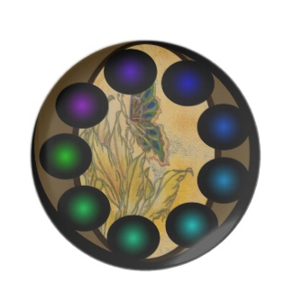 Futuristic Futurism 3D Design Colorful Balls Butterfly Plate 37 by CricketDiane 2013