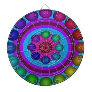 Futuristic Futurism 3d Design Rainbow Target Dartboard Fun by CricketDiane 2013