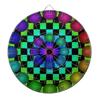 Futuristic Futurism 3d Design Rainbow Target Dartboard Fun 4 by CricketDiane 2013
