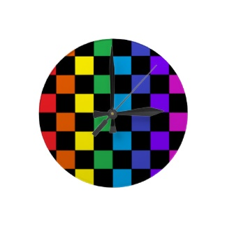 Gay Pride Rainbow Gifts Rainbow Chessboard Clock by CricketDiane 2013