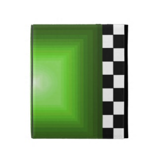 Hipster B/W Checkerboard Neon Green 3D Illusion iPad Folio Case by CricketDiane