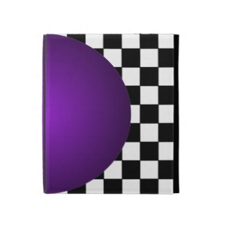 Hipster B/W Checkerboard Purple 3D Ball iPad Folio Case by CricketDiane 2013