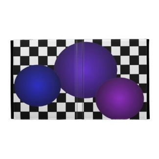 Hipster B/W Checkerboard with Purple Floating 3D Balls by CricketDiane