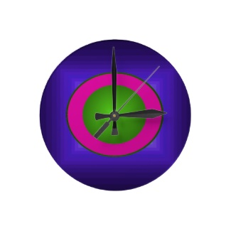 Dramatic Color Contrast Hipster Neon Green Illusion 3D Design Clock by CricketDiane 2013