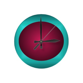 Hipster Red Turquoise Dimensional 3D Design Illusion Ball Clock by CricketDiane 2013