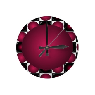 Hipster Red White and Black 3D Design Ball Clock by CricketDiane 2013