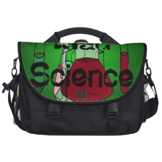 Mad Science Chemists Chemistry Beakers Test Tubes Solutions Laptop Messenger Bag by CricketDiane 2013