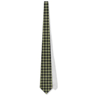 Olive Green / Army Green and Black Chessboard Mens' Tie by CricketDiane 2013