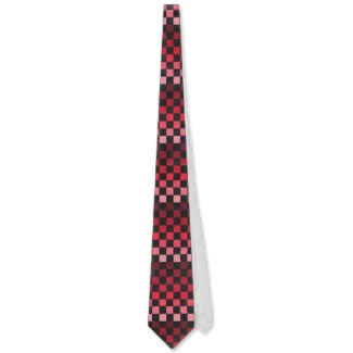 Red Black Optical Illusion Chess Board Men's Tie 3 by CricketDiane 2013