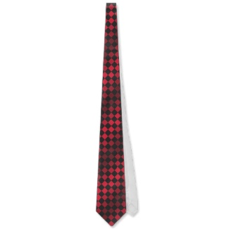 Red Black Optical Illusion Chess Board Men's Tie 5 by CricketDiane 2013