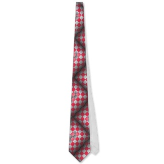 Red and Grey 3d Optical Illusion Just Wrong Mens Tie by CricketDiane 2013
