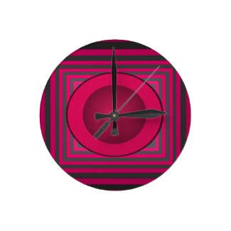 Red Optical Illusion 3D Design Ball Clock by CricketDiane 2013