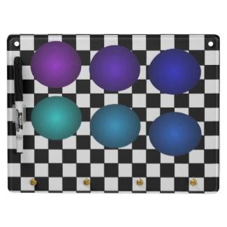 Retro B/W Checkerboard 3D Design Balls Dry Erase Board by CricketDiane 2013