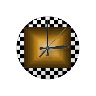 Rock n Roll Retro Gold Hipster B/W Checkerboard Clock by CricketDiane 2013