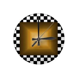 Rock n Roll Retro Gold Hipster B/W Checkerboard Clock by CricketDiane 2013