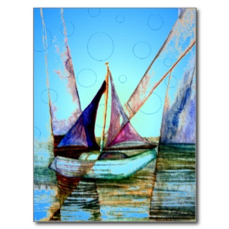 Sailboat Sailing Abstract Watercolor with Blue Light Orb Bubbles by CricketDiane 2013