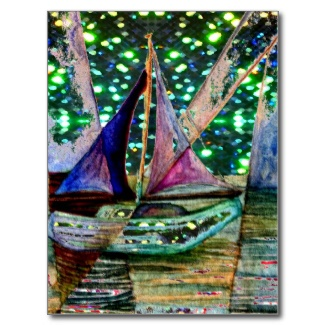 Sailboat Abstract Watercolor with Glistening Shining Lights Background Sky by CricketDiane 2013