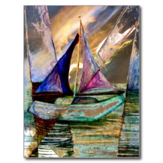 Sailboat Abstract Shining Lights Lightening Sea 2 by CricketDiane Art and Design 2013