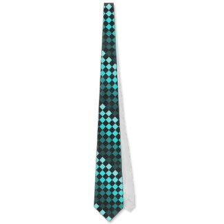 Turquoise Optical Illusion Chessboard Men's Tie 2 by CricketDiane 2013