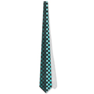 Turquoise Optical Illusion Chessboard Men's Tie by CricketDiane 2013