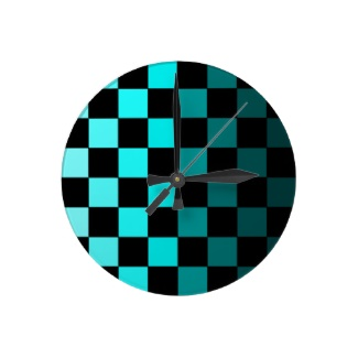 Hipster Turquoise Teal Ombre Checkerboard Chessboard Clock Day and Night CricketDiane 2013