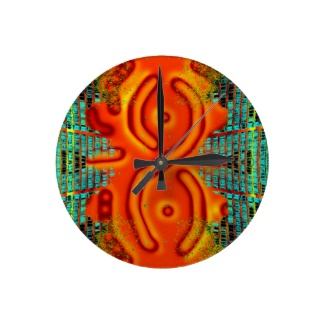 Windswept Extreme Designs Orange Urban Futurism Wall Clock by CricketDiane Art and Design 2013
