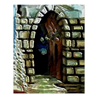 Castle Door Stone Hallway Fantasy Art Poster by CricketDiane 2013, 1993