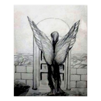 Mystic Angel Black and White Pencil Drawing Fantasy Art Poster - CricketDiane Art and Design 2013
