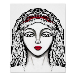 Princess Black and White Pen and Ink Artwork Design Fantasy Poster by CricketDiane Art and Design 2013