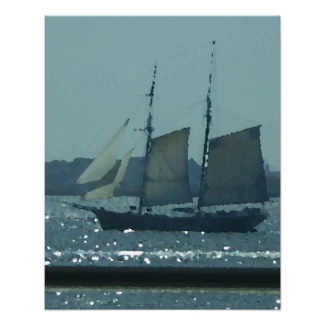 Sailing Ship in the Sunlight Sparkle of New York Harbor Art Poster by CricketDiane 2013