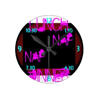 Black Wild Day Lunch Nap Clock 5 by CricketDiane