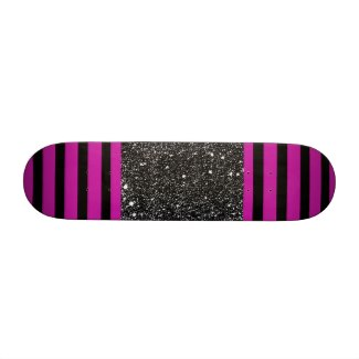 Magenta Hot Pink Black Stripes Girls Skateboard 2 by CricketDiane Design unique custom skateboard decks at zazzle.com