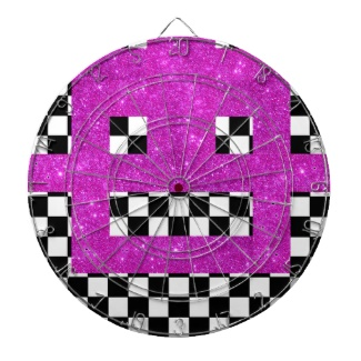 Pink Checkerboard Wild Girlie Robot Dartboard by CricketDiane
