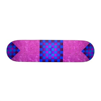 Pink Sparkle Blue Purple Chess Girls Skateboard by CricketDiane
