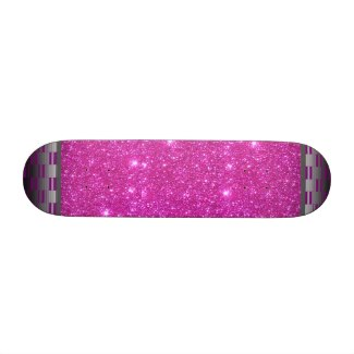 Pink Sparkle w Metallic Ends Girls Skateboard by CricketDiane