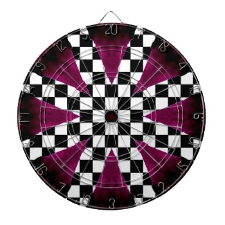 Purple Checkerboard Wild Girlie Darts Dartboard by CricketDiane