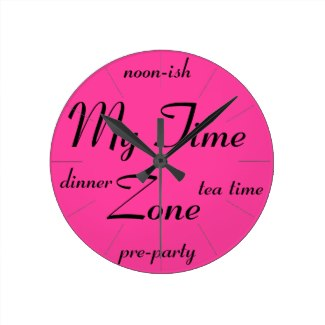 Very Very Pink Bright Pink My Time Zone Clock 3 by CricketDiane