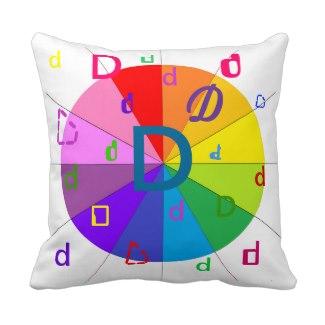 Alphabet Decorative Letter Pillow D Colorwheel by CricketDiane 2014