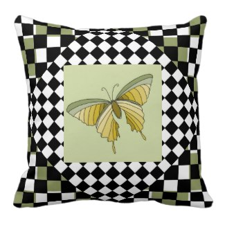 Decor Pillow Green Colors Checkerboard 9 Butterfly by CricketDiane 2014