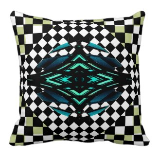 Decor Pillow Green Colors Checkerboard 9b Teal by CricketDiane