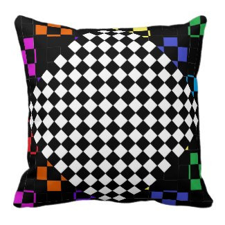 Decor Pillow Green Colors Checkerboard 9d Spectrum by CricketDiane 2014