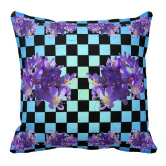 Purple Crocus Blue Surrealist Pillow by CricketDiane 2014