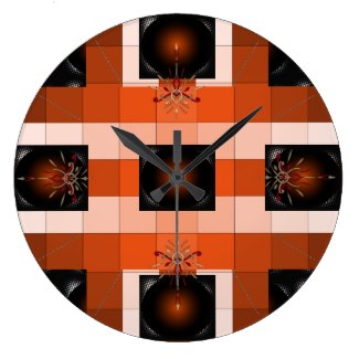 Rust Orange 3D Color Design Clock 18 by CricketDiane  2014