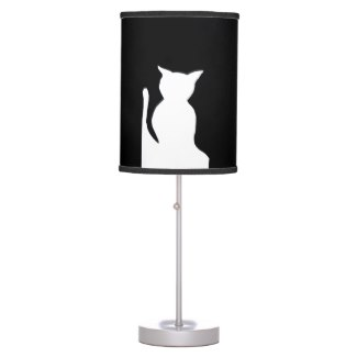 Cat Shadow Animals Black and White Lamp 1 by CricketDiane